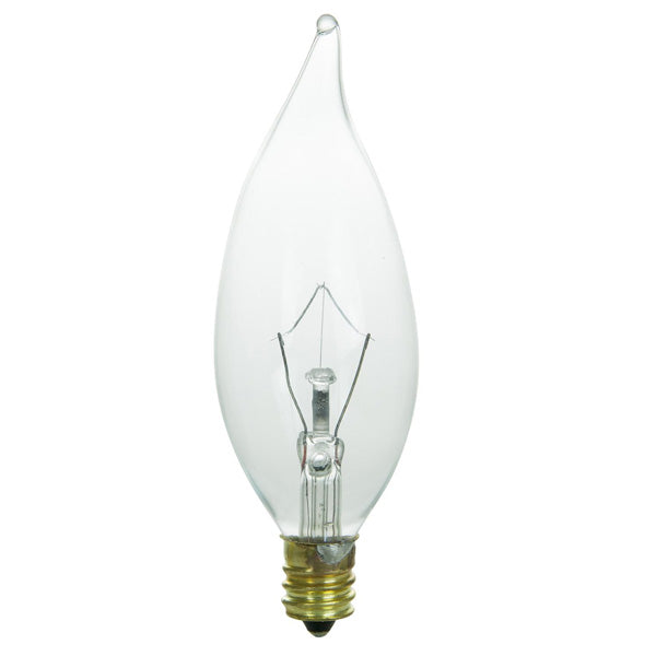 SUNLITE 40w Flame 120v Candelabra Base Clear bulbs
