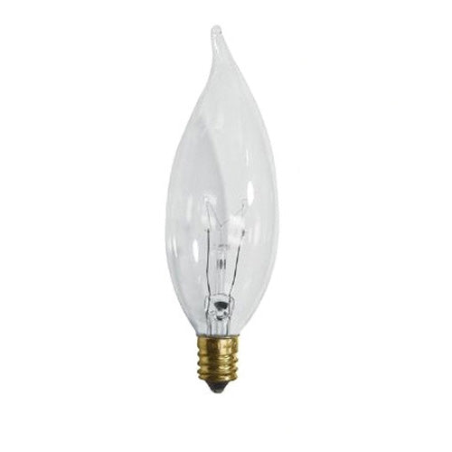 Sunlite 60w 120v Flame Candelabra Base Clear Chandelier bulbs - 1 Bulb