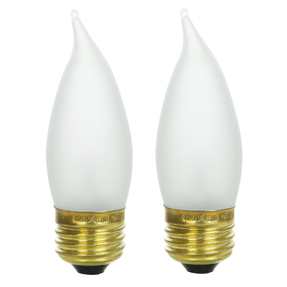 2Pk - SUNLITE 25w Flame Tip Chandelier Medium Base Frost Incandescent Bulb