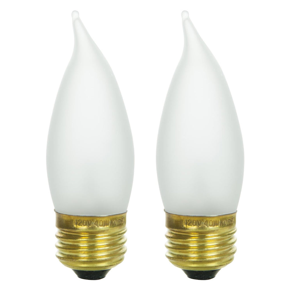 2Pk - SUNLITE 40w Flame Tip Chandelier Medium Base Frost Incandescent Bulb