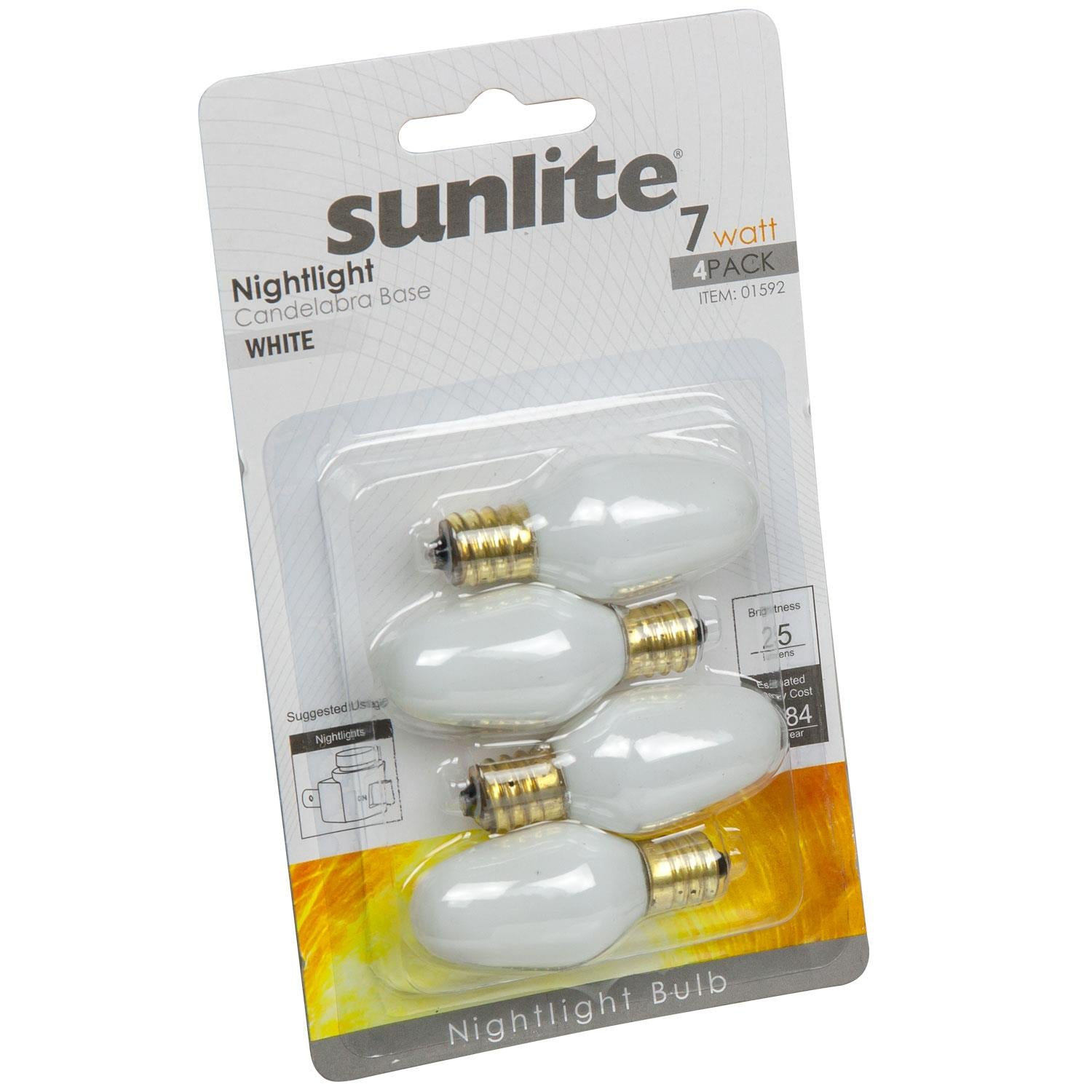 4Pk - SUNLITE 7w C7 120v Candelabra Base Night Light bulb - White finish