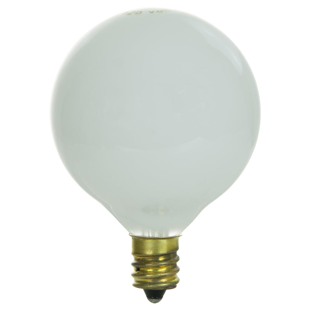 Sunlite 60w 130v Globe G16 5 E12 White Incandescent Light