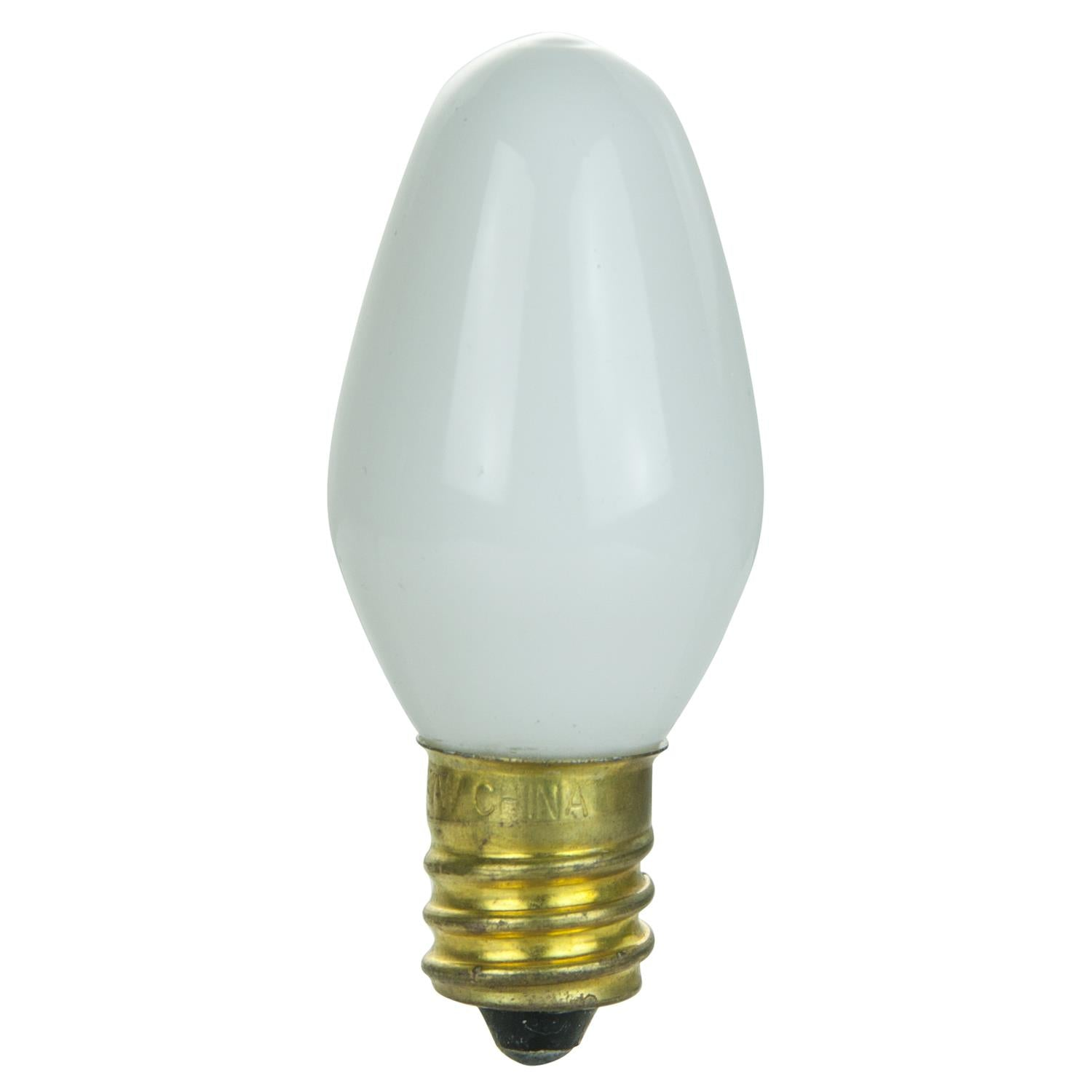 25Pk - SUNLITE 4w C7 120v Candelabra Base Night Light bulb - White finish