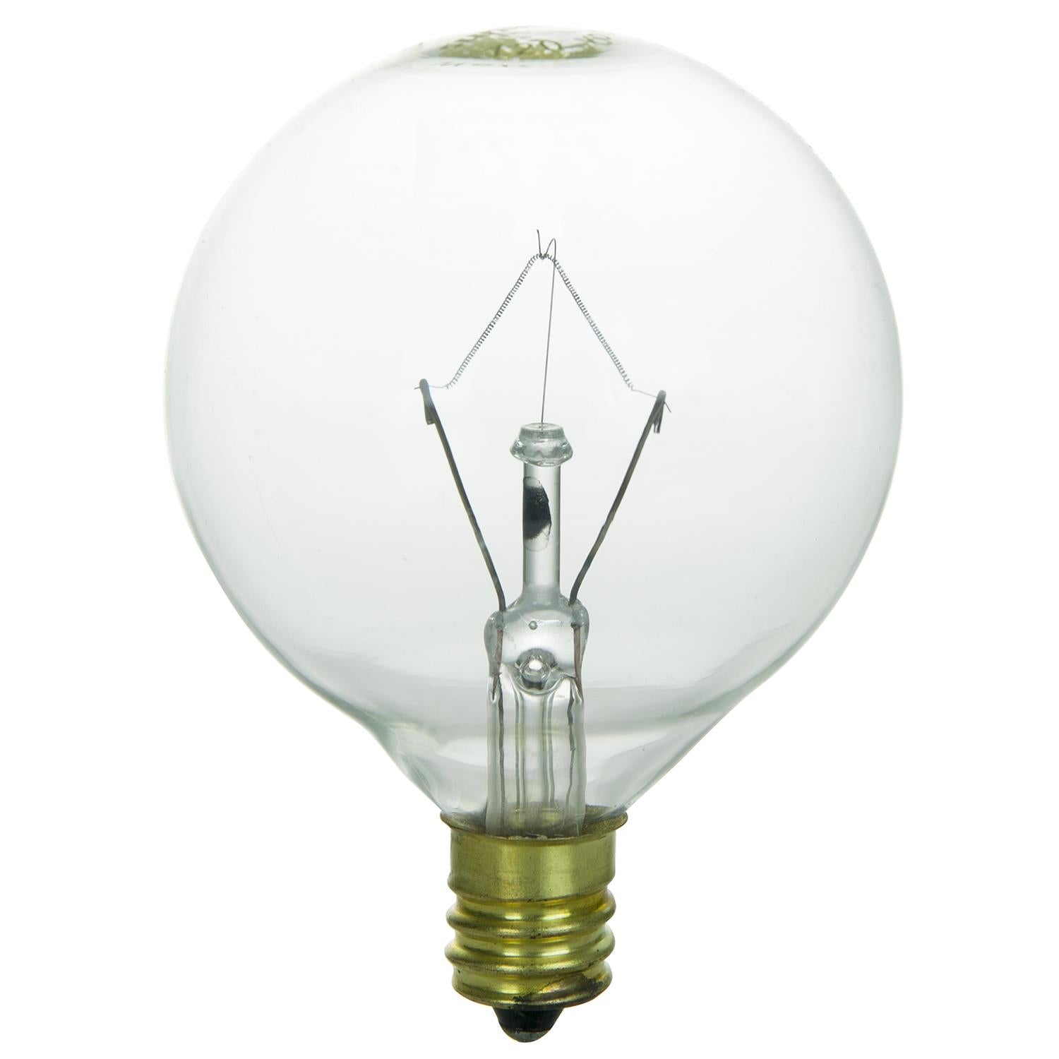 SUNLITE 25W 120V Globe G16.5 Clear E12 Incandescent Light Bulb