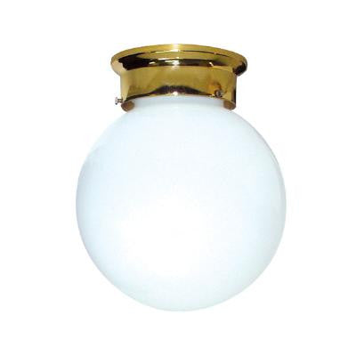"Sunlite GLO8/PB Polished Brass finish with a White 8"" glass globe"
