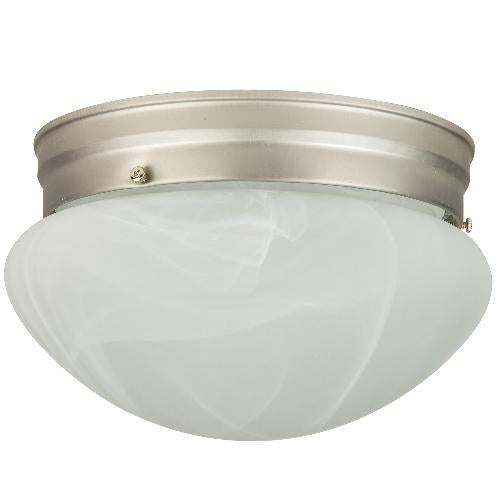 Sunlite 8in. Mushroom Brushed Nickel Albaster Glass Ceiling Fixture - 2 bulbs