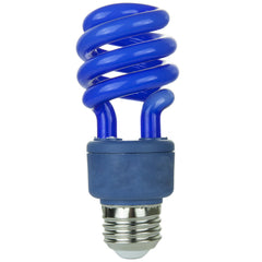 SUNLITE 13w T3 E26 Medium Base Blue Spiral Light Bulbs