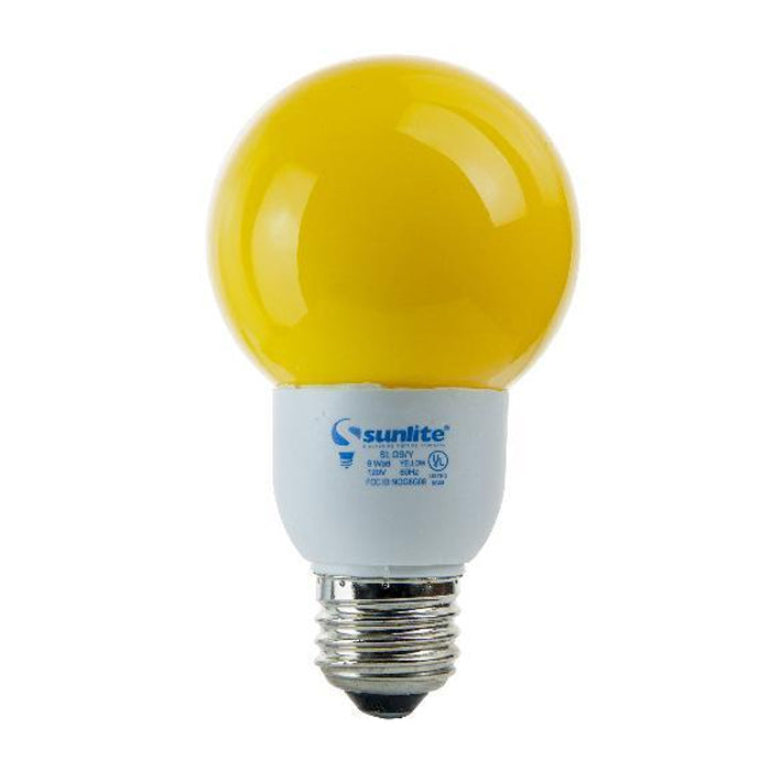 SUNLITE Compact Fluorescent 9W Colored Yellow Globes Bulb