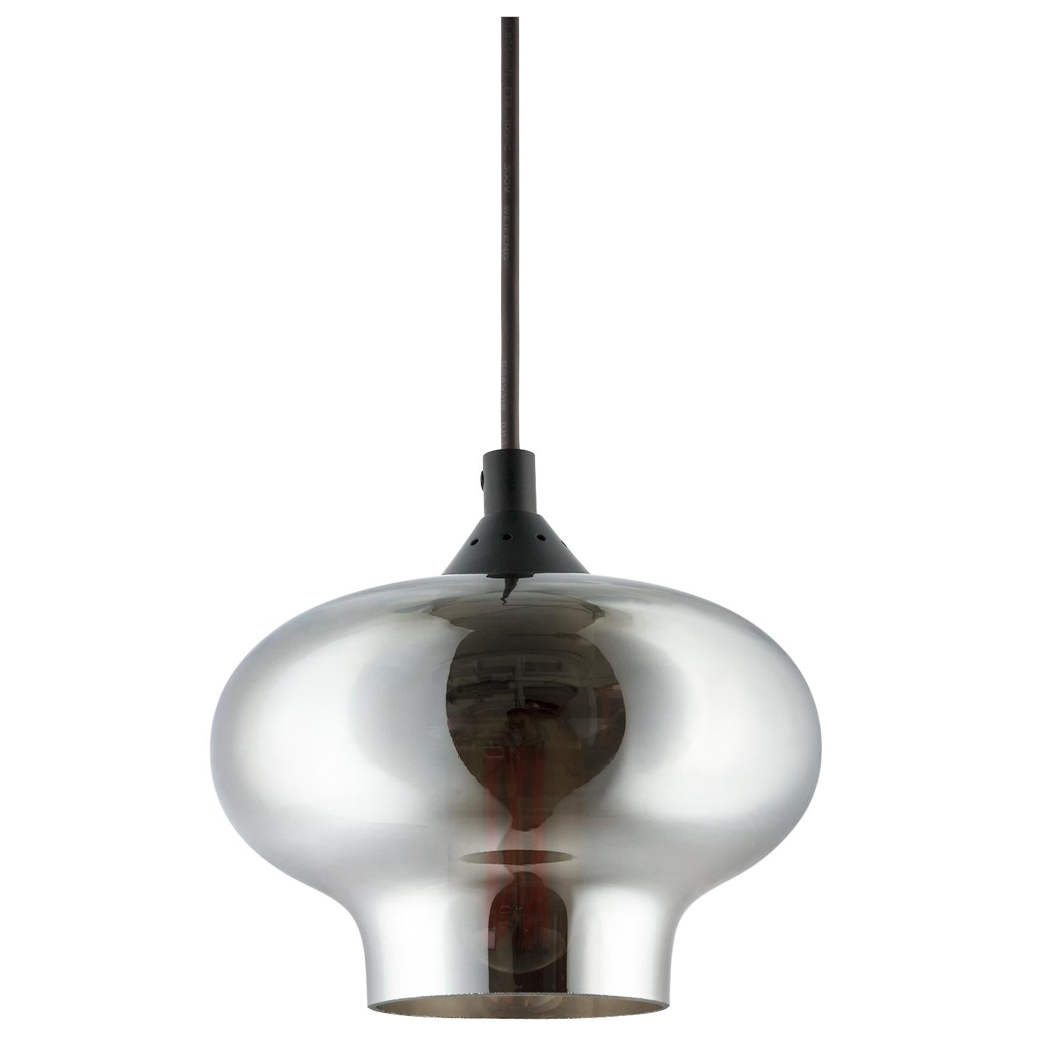 "SUNLITE E26 7"" Tinted Glass Sphere Brushed Nickel Pendant Light Fixture"