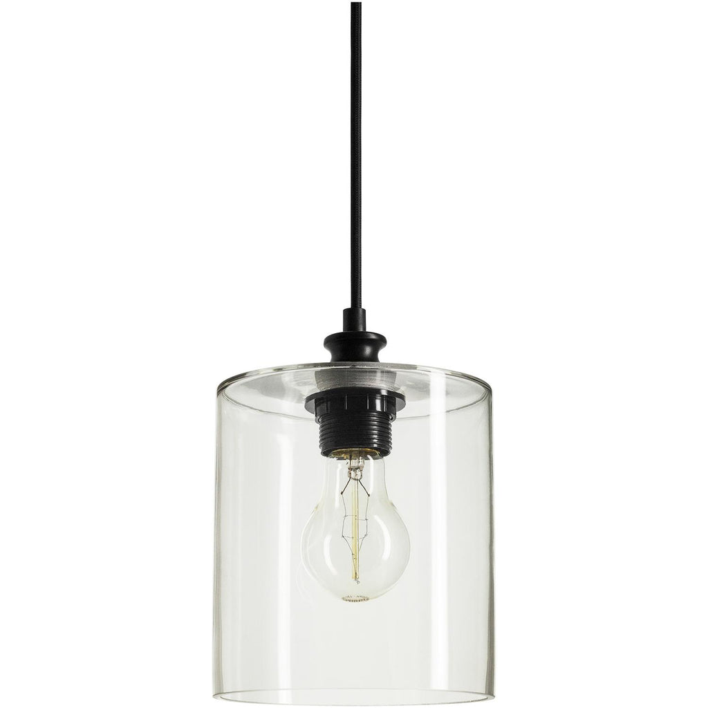 SUNLITE 07058-SU E26 Cylinder Glass Collection Black Pendant Light Fixture