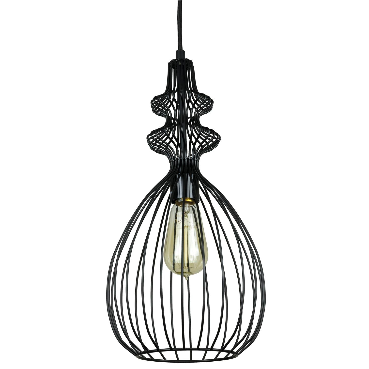 SUNLITE E26 Oval Cage Antique Bronze Pendant Light Fixture