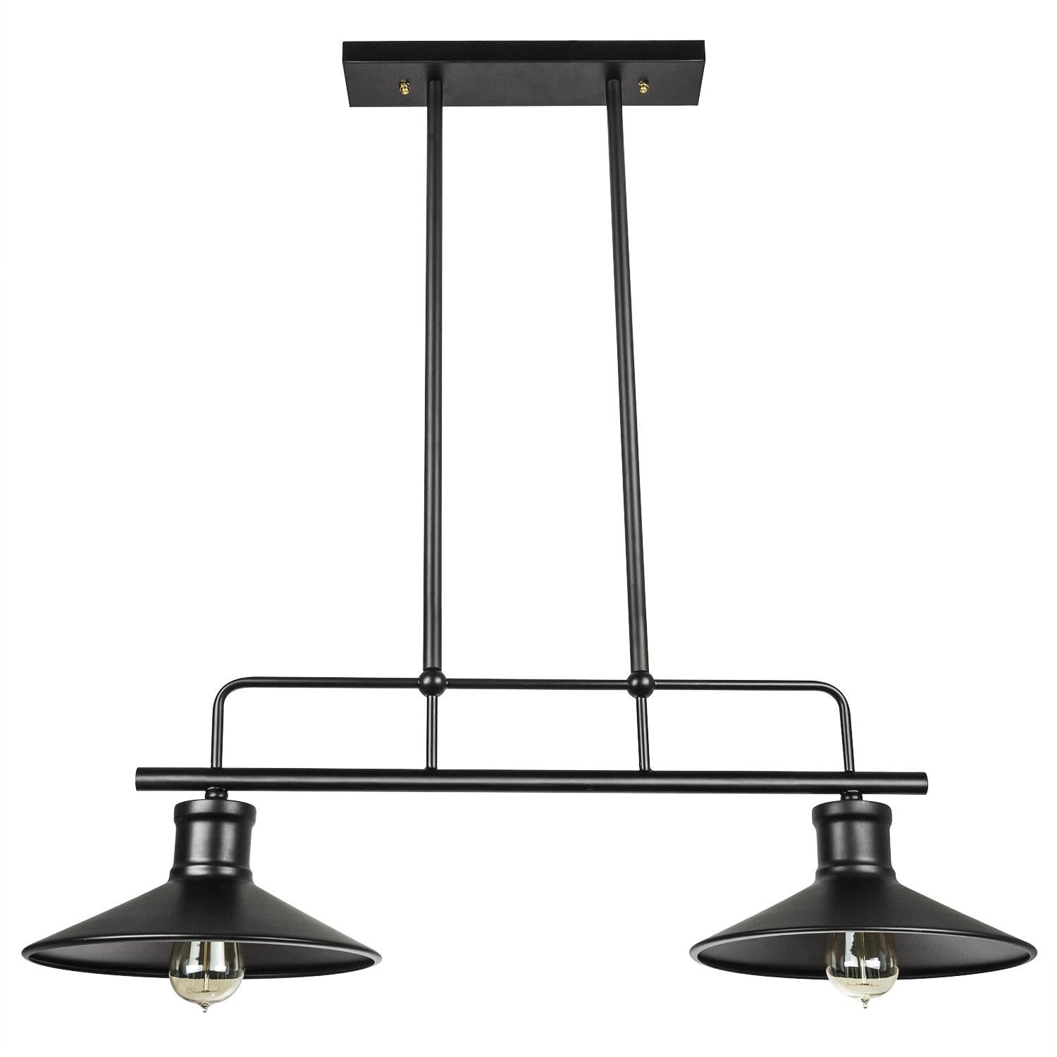 SUNLITE 07068-SU E26 Double Shade Matte Black Pendant Light Fixture