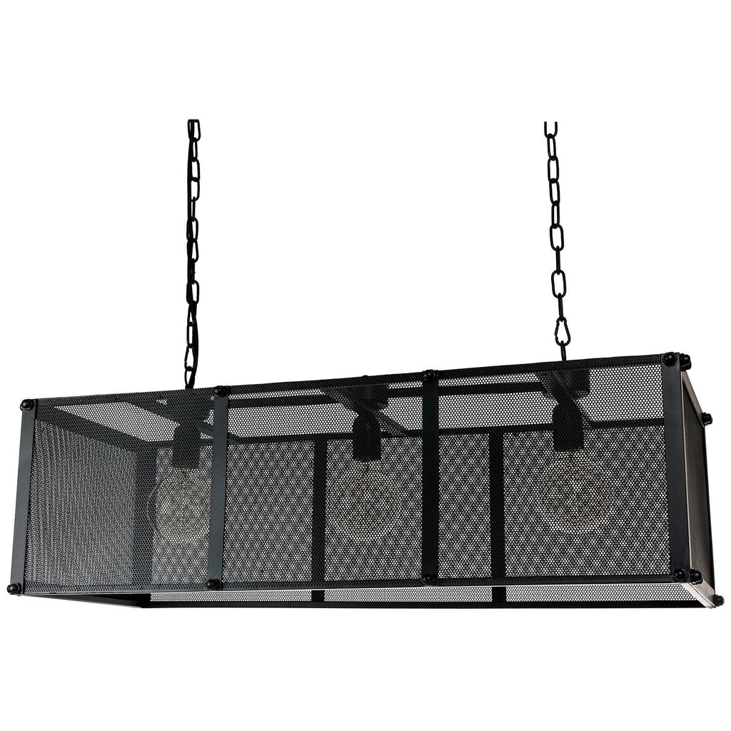 Sunlite 07078-SU E26 Rectangle Net Cage Black Pendant Light Fixture