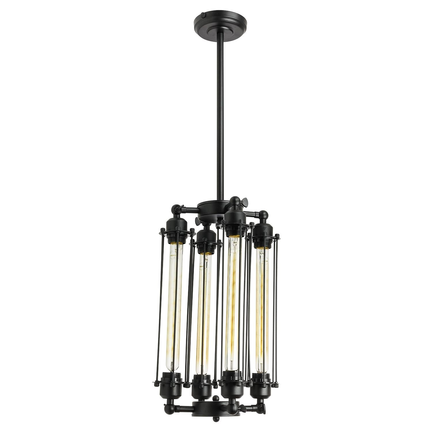 SUNLITE 07084-SU E26 4 Tube Antique Black Pendant Light Fixture