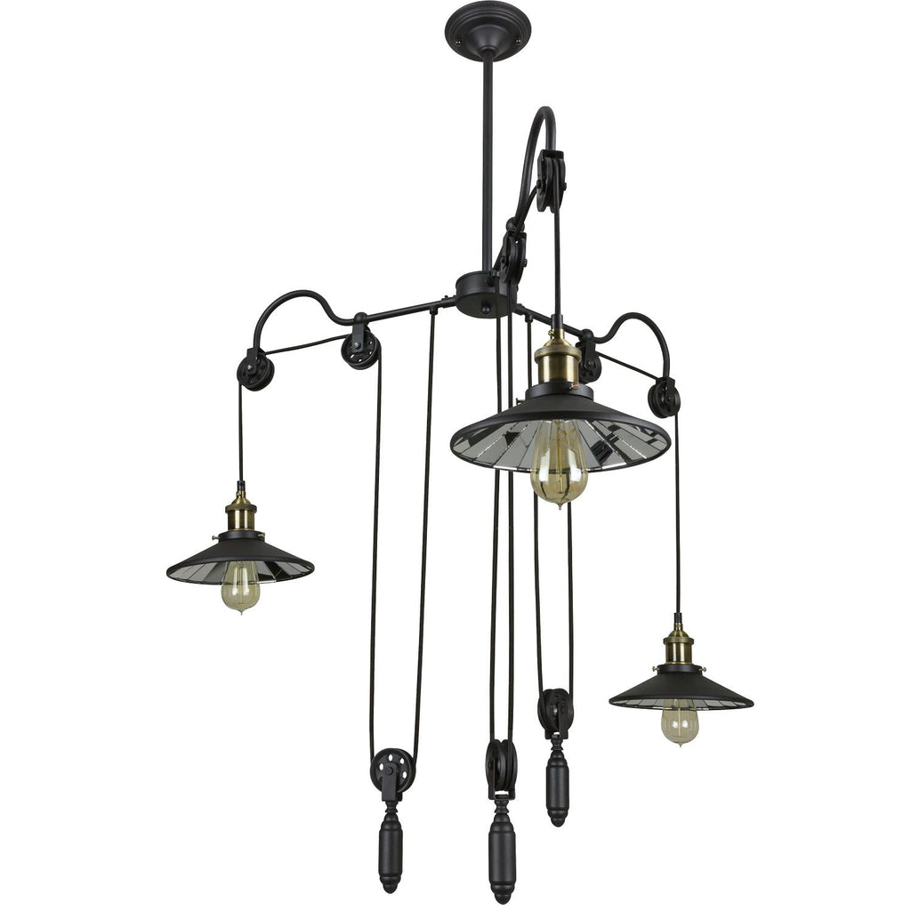 SUNLITE E26 Round Shade with weight Matte Black Pendant Light Fixture