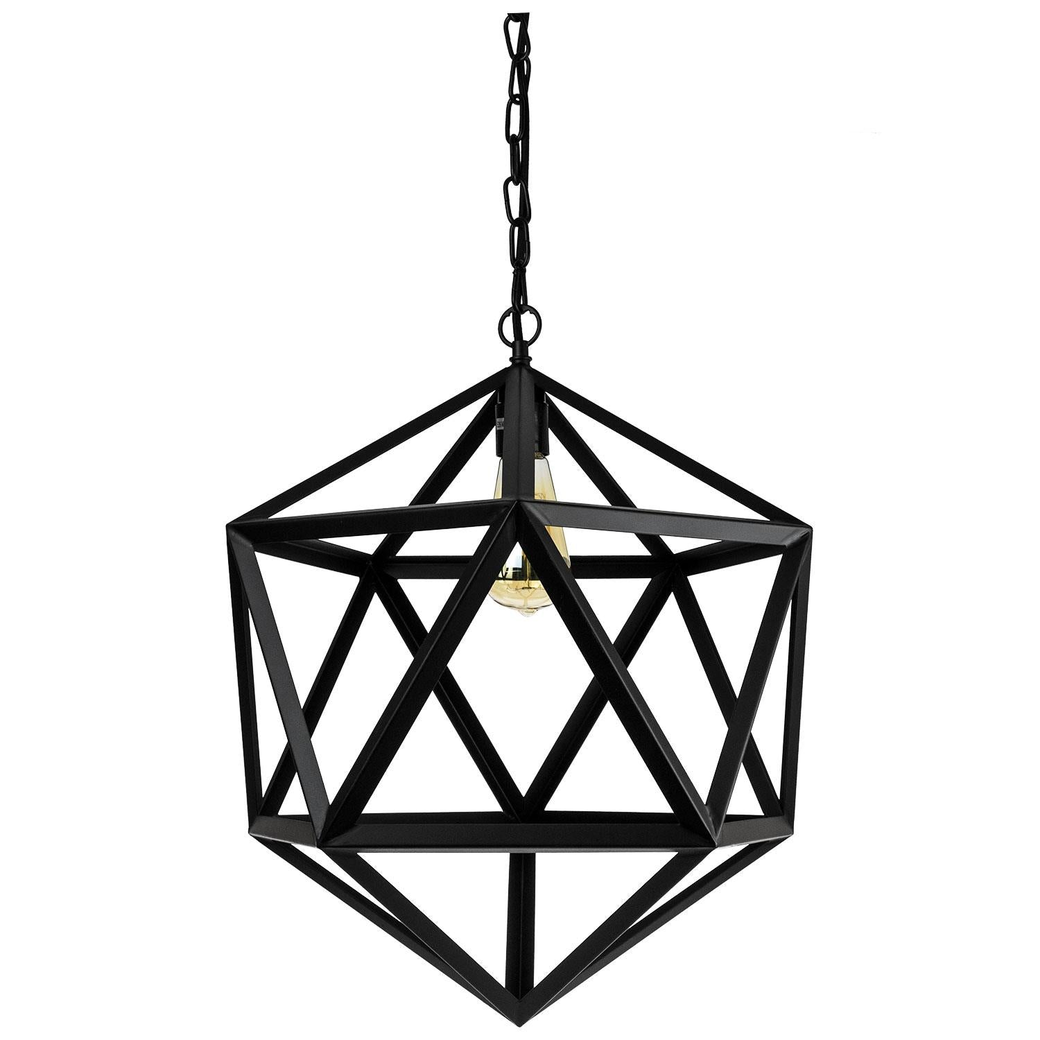 SUNLITE E26 Hexagon Matt Black Pendant Light Fixture