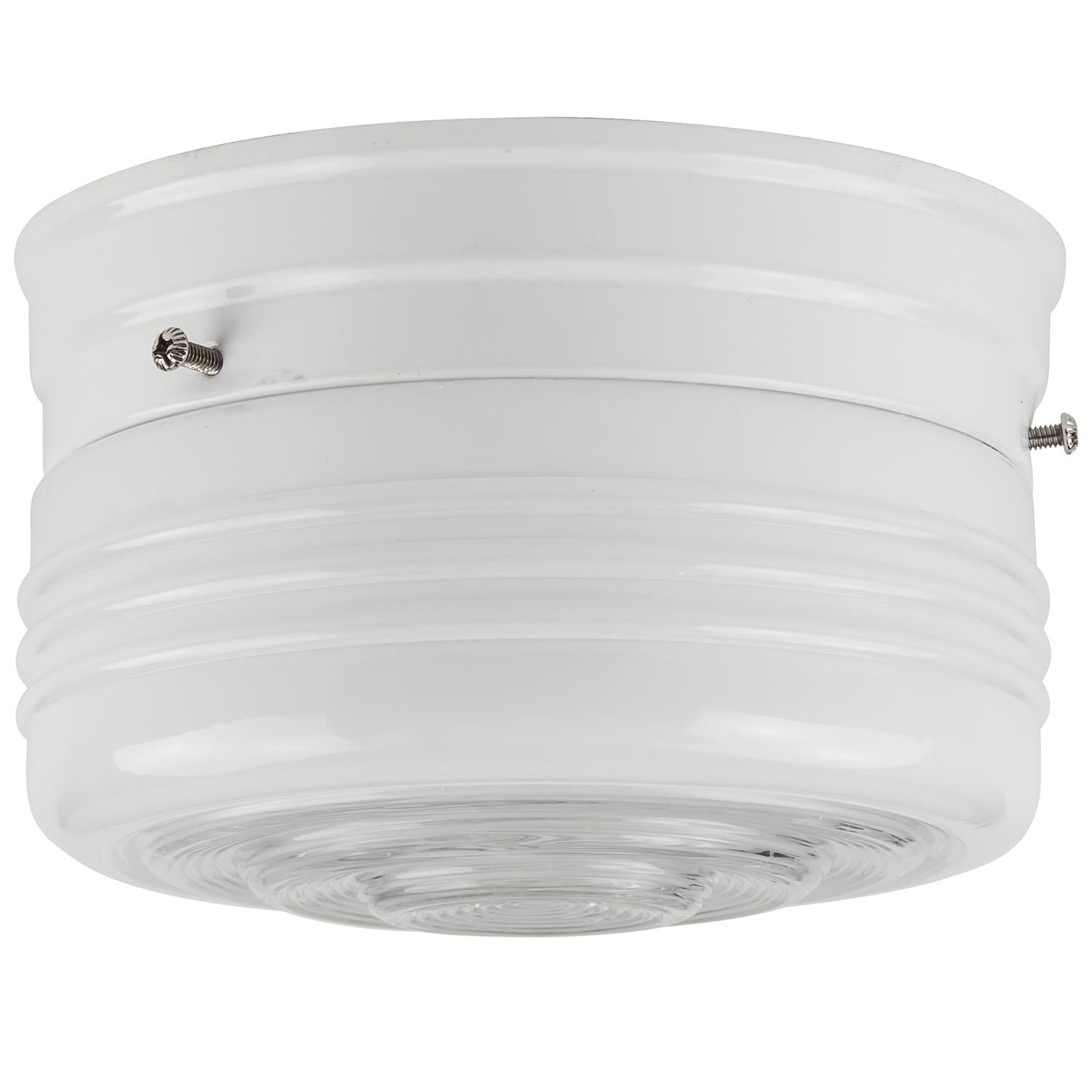 SUNLITE 10in Drum Ceiling Fixture, White Finish, Semi-Frosted Glass