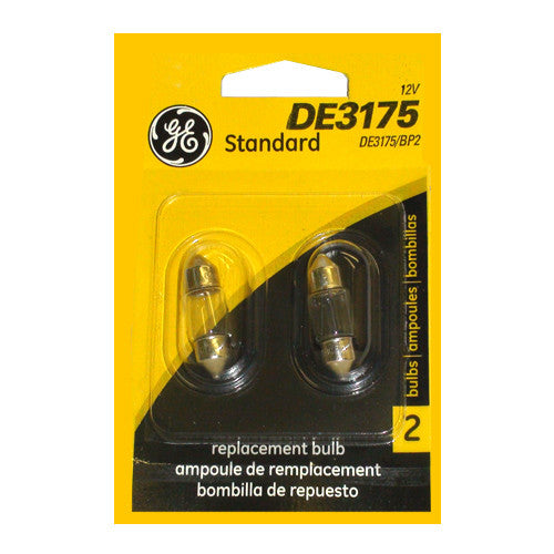 GE DE3175 - 10w T3.25 13v Festoon Automotive Lamp - 2 Bulbs