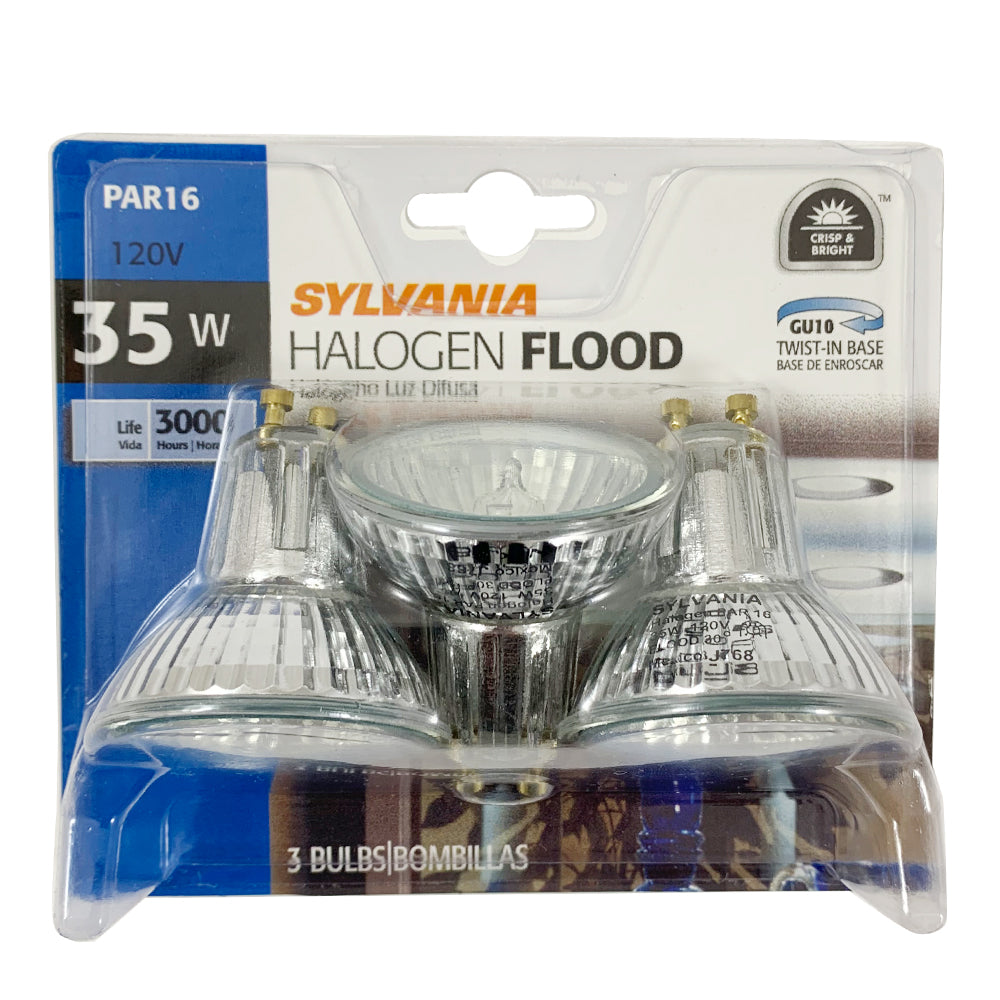 3pk- Sylvania FMW 35w MR16 GU10 Base Halogen Flood Light Bulb