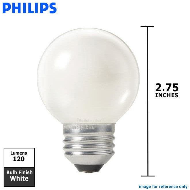 Philips 25w 120v Globe G16.5 E26 White DuraMax Decorative Incandescent Light Bulb