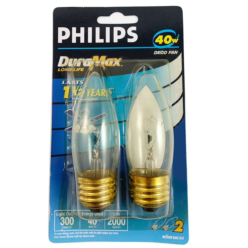 2pk- Philips 40W B13 Decorative Fan Candelabra Incandescent Light Bulb