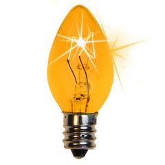 25 Bulbs - C7 Twinkle Triple Dipped Transparent Yellow, 7 Watt lamp