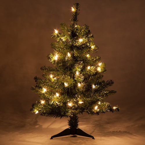 2' Douglas Fir Table Top Tree, Clear Lights
