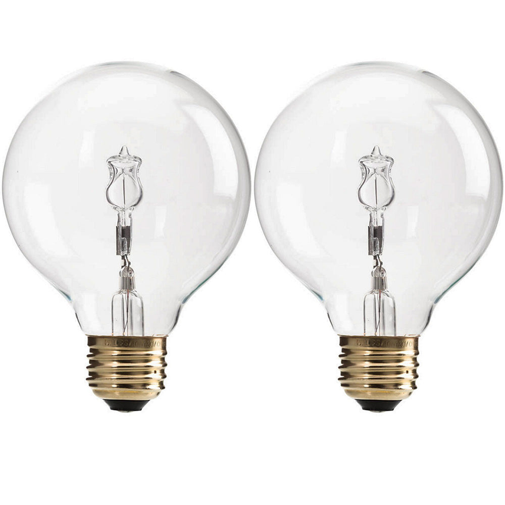 2pk - Philips 60W G25 Decorative Vanity Globe Halogen Light Bulb