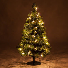 2 Trees - 2' Winchester Fir Walkway Tree, Clear Lights