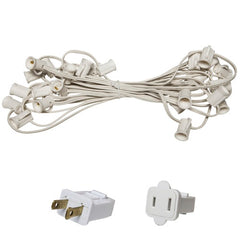 "C7 Light Stringer, 25 Ft. Length, 6"" Spacing, 5 Amp SPT1 White Wire"