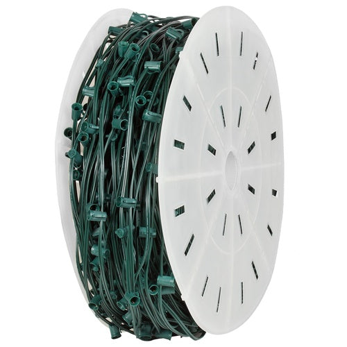 "C9 E17 Base Light Spool, 1000' Length, 12"" Spacing, 10 Amp SPT2 Green Wire"