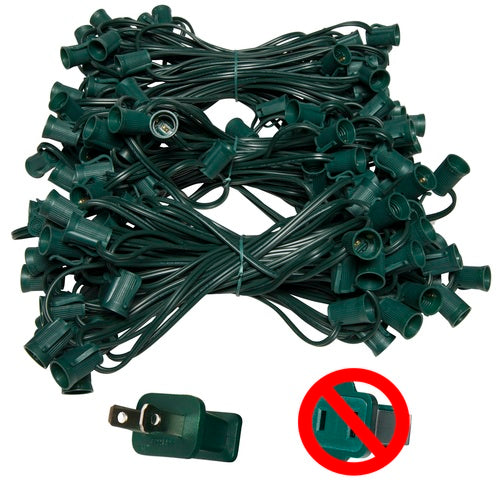 "C9 E17 Base Light Stringer, 150' Length, 12"" Spacing, 10 Amp SPT2 Green Wire"
