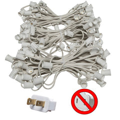 "C9 E17 Base Light Stringer, 150' Length, 12"" Spacing, 10 Amp SPT2 White Wire"