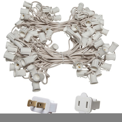 "C9 E17 Base Light Stringer, 100' Length, 12"" Spacing, 10 Amp SPT2 White Wire"