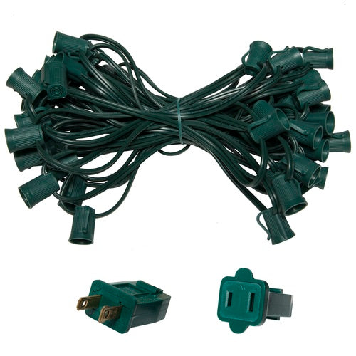 "C9 E17 Base Light Stringer, 50' Length, 12"" Spacing, 10 Amp SPT2 Green Wire"