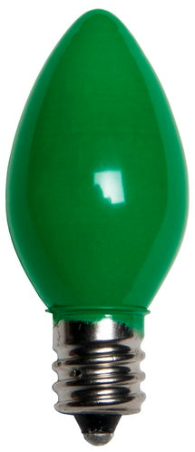 25 Bulbs - C7 Opaque Green, 5 Watt lamp
