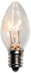 25 Bulbs - C7 Transparent Clear, 5 Watt lamp, E12 - Candelabra base