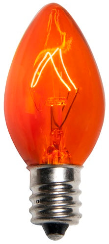 25 Bulbs - C7 Triple Dipped Transparent Amber, 5 Watt lamp