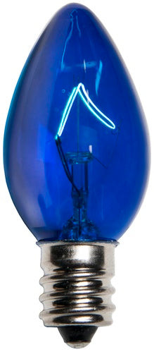 25 Bulbs - C7 Triple Dipped Transparent Blue, 5 Watt lamp