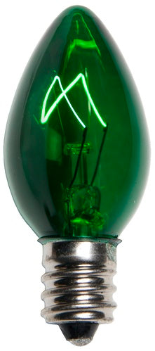 25 Bulbs - C7 Triple Dipped Transparent Green, 5 Watt lamp