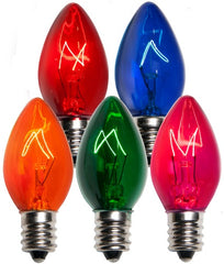 25 Bulbs - C7 Triple Dipped Transparent Multicolor, 5 Watt lamp