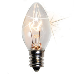25 Bulbs - C7 Twinkle Transparent Clear, 7 Watt lamp