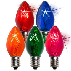 25 Bulbs - C7 Twinkle Triple Dipped Transparent Multicolor, 7 Watt lamp