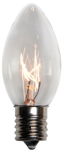 25 Bulbs - C9 Transparent Clear, 10 Watt lamp