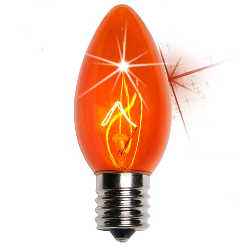 25 Bulbs - C9 Twinkle Triple Dipped Transparent Amber, 7 Watt lamp