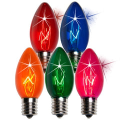 25 Bulbs - C9 Twinkle Triple Dipped Transparent Multicolor, 7 Watt lamp