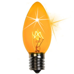 25 Bulbs - C9 Twinkle Triple Dipped Transparent Yellow, 7 Watt lamp