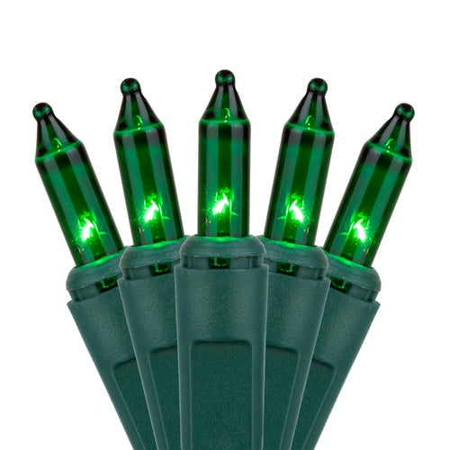"50 Green Mini Lights, Green Wire, 6"" Spacing"