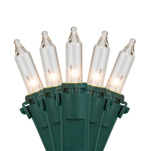 "Commercial 200 Clear Mini Lights, Lamp Lock, Green Wire, 4.5"" Spacing"