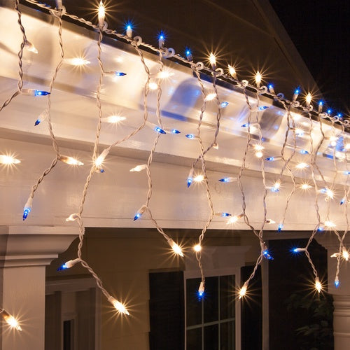 150 Blue, Clear Mini Icicle Light Set, White Wire